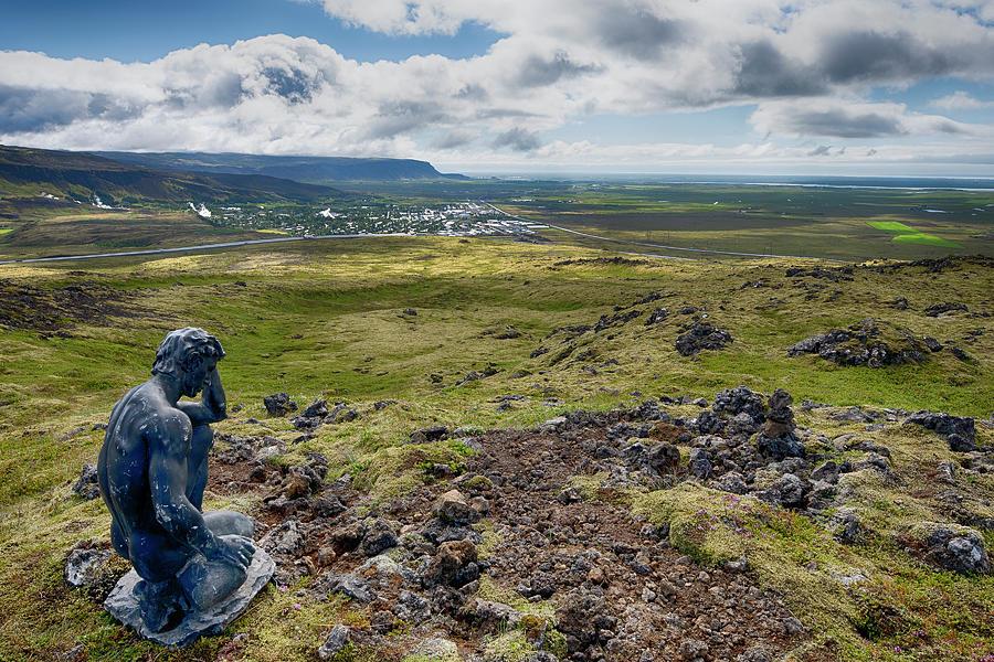 Statue Overlooking Hveragerdi Iceland 6271901 by Rick Veldman