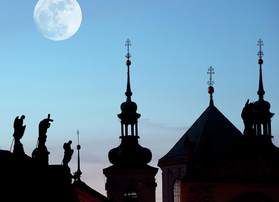 Statues And Spires In Silhouette, Prague Photograph by Shanna Baker