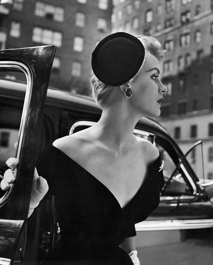 Stay Put Hat, Jeweled Version Head Hold Photograph by Nina Leen