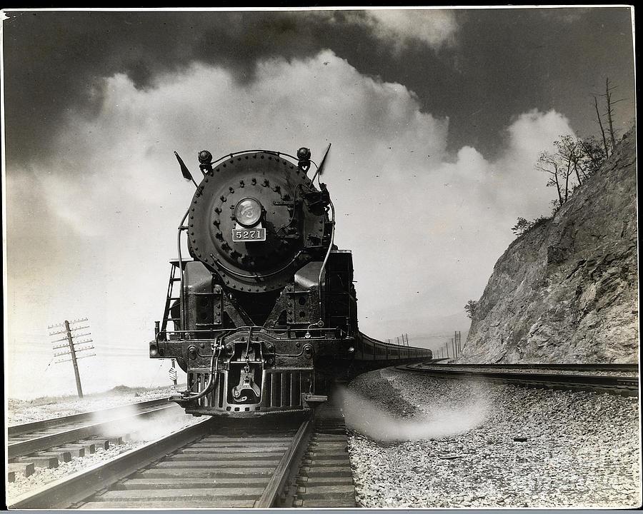 Steam Locomotive Chugging Down Track Photograph by Bettmann