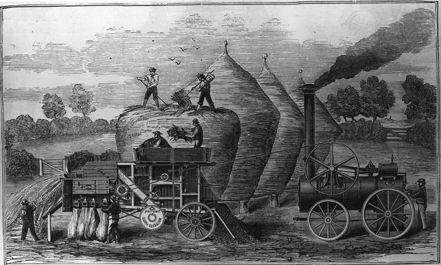 Steam Threshing Digital Art by Hulton Archive