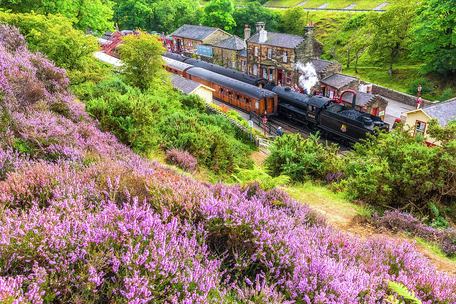 Goathland Photograph - Steam train at Goathland, North York Moors by David Ross