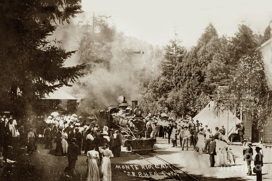 Steam train at Monte Rio station, Calif. Circa 1908 by California Views Archives Mr Pat Hathaway Archives