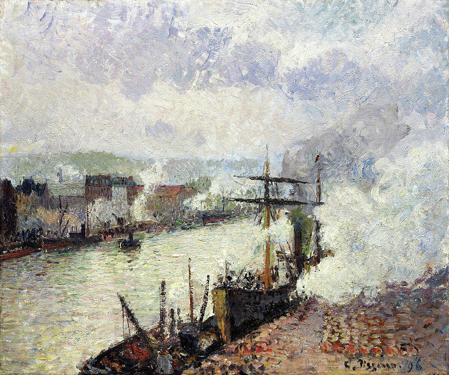 Camille Pissarro Painting - Steamboats In The Port Of Rouen - Digital Remastered Edition by Camille Pissarro