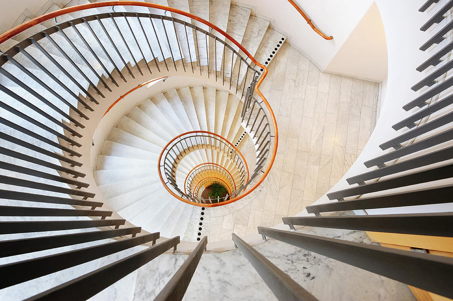Steel And Marble Spiral Staircase Photograph by Olaser
