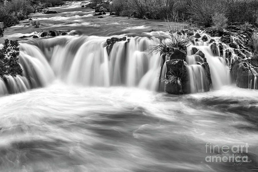 Steelhead Falls, Dream, Deschutes River, Black and White, by David Millenheft