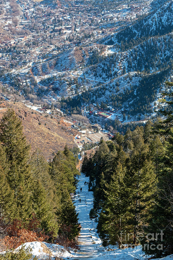 Steep Manitou Incline In Winter Photograph