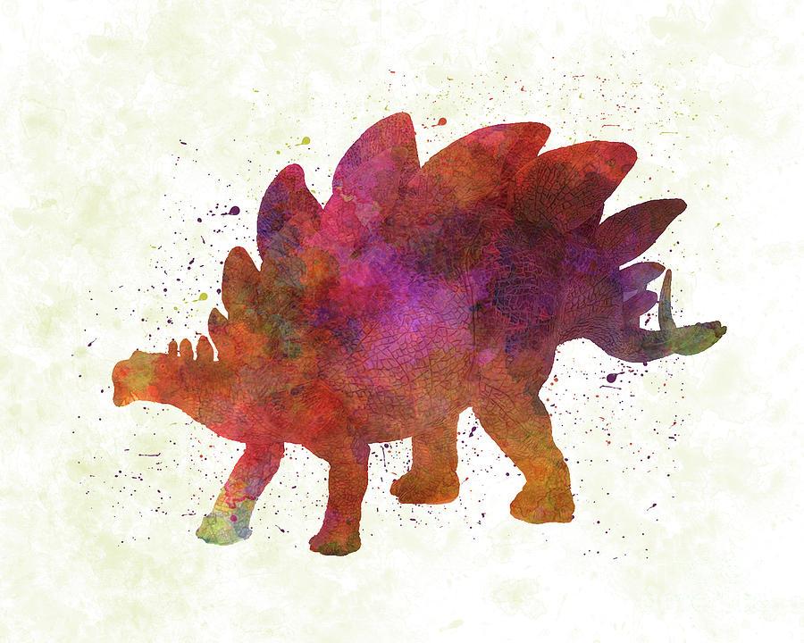 Stegosaurus dinosaur in watercolor by Pablo Romero
