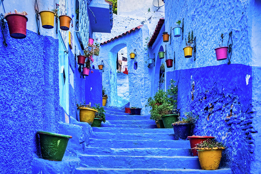 Steps and Flower Pots - Chefchaouen - Morocco by Stuart Litoff