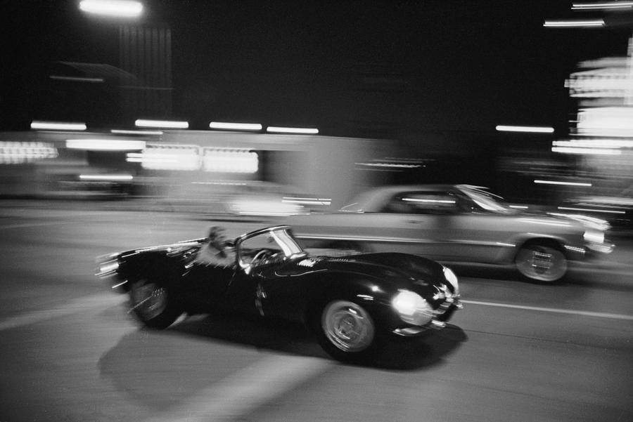 Steve Mcqueen Driving Sunset Strip Photograph by John Dominis