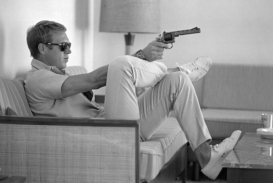 Steve Mcqueen Takes Aim Photograph by John Dominis