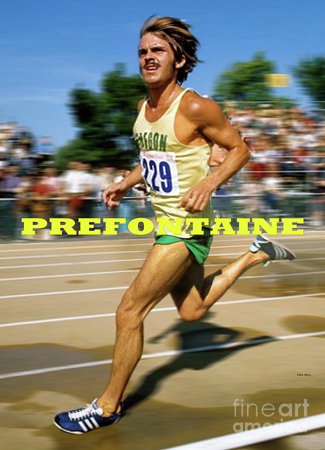 Steve Prefontaine Mixed Media - Steve Prefontaine, the legend, Oregon Ducks by Thomas Pollart