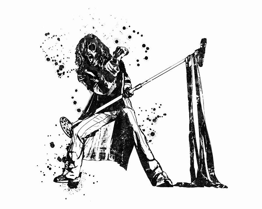 Steven Tyler Painting - Steven Tyler Microphone Aerosmith Black and White Watercolor 01 by StockPhotosArt Com