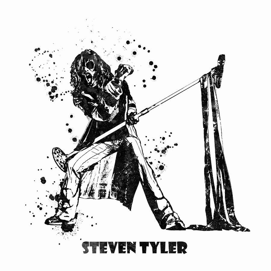 Steven Tyler Painting - Steven Tyler Microphone Aerosmith Black and White Watercolor 02 by StockPhotosArt Com