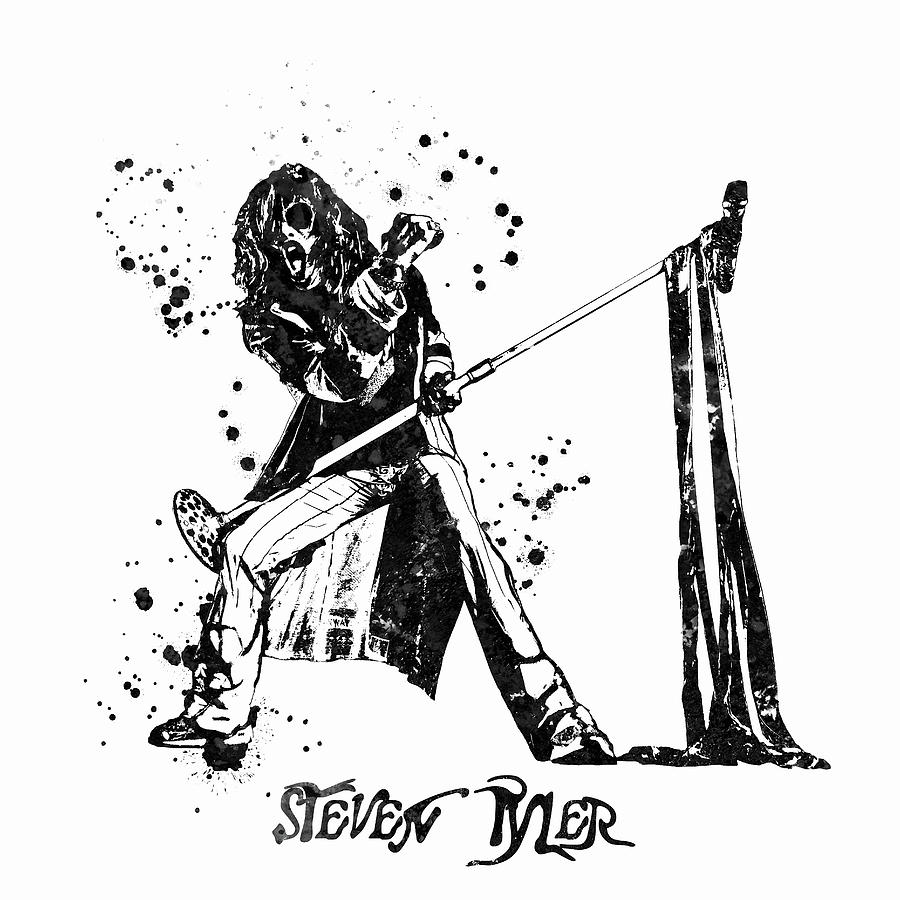 Steven Tyler Painting - Steven Tyler Microphone Aerosmith Black and White Watercolor 03 by StockPhotosArt Com