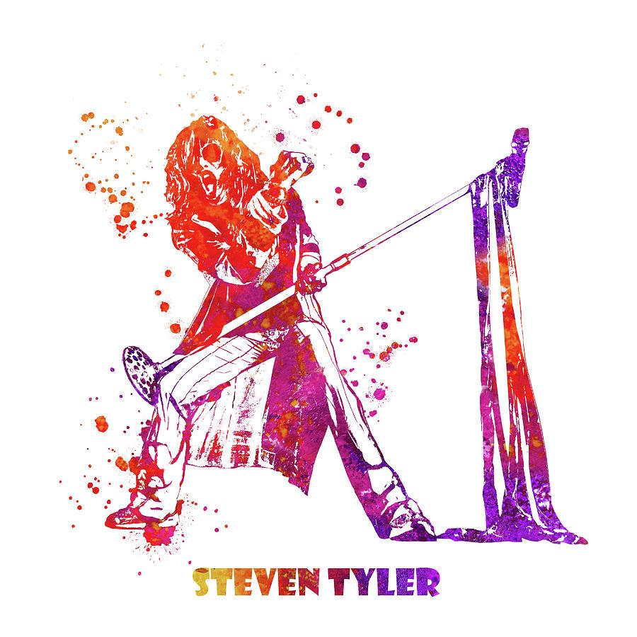 Steven Tyler Painting - Steven Tyler Microphone Aerosmith Watercolor 02 by StockPhotosArt Com