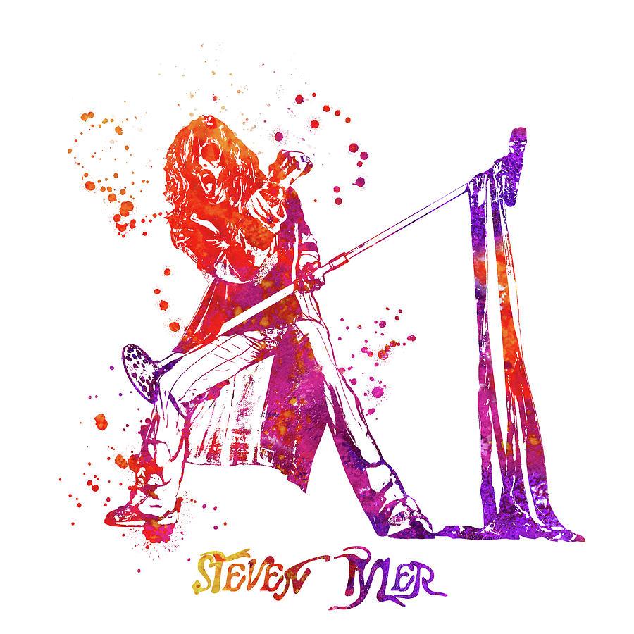 Steven Tyler Painting - Steven Tyler Microphone Aerosmith Watercolor 03 by StockPhotosArt Com