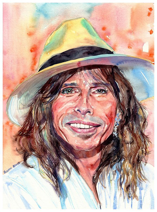 Steven Tyler Painting - Steven Tyler Portrait by Suzann Sines