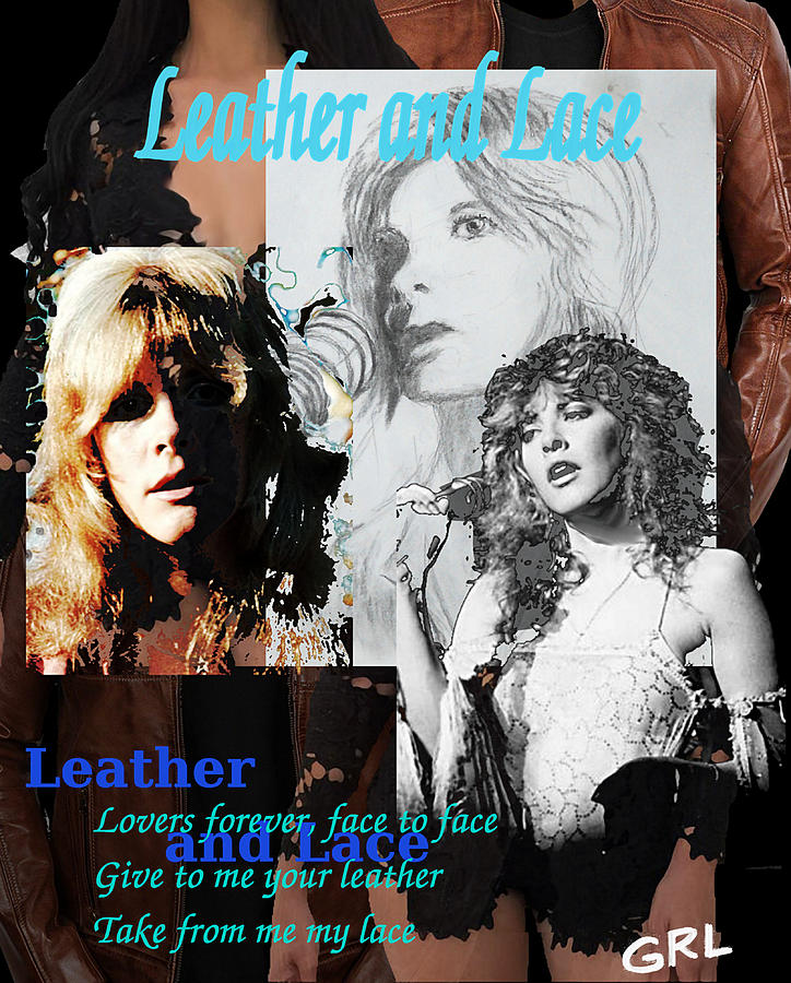 Stevie Nicks Collage Leather and Lace Original Fine Art by G Linsenmayer