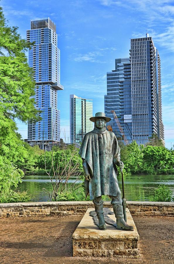 Stevie Ray Vaughan Statue - Austin T X by Allen Beatty