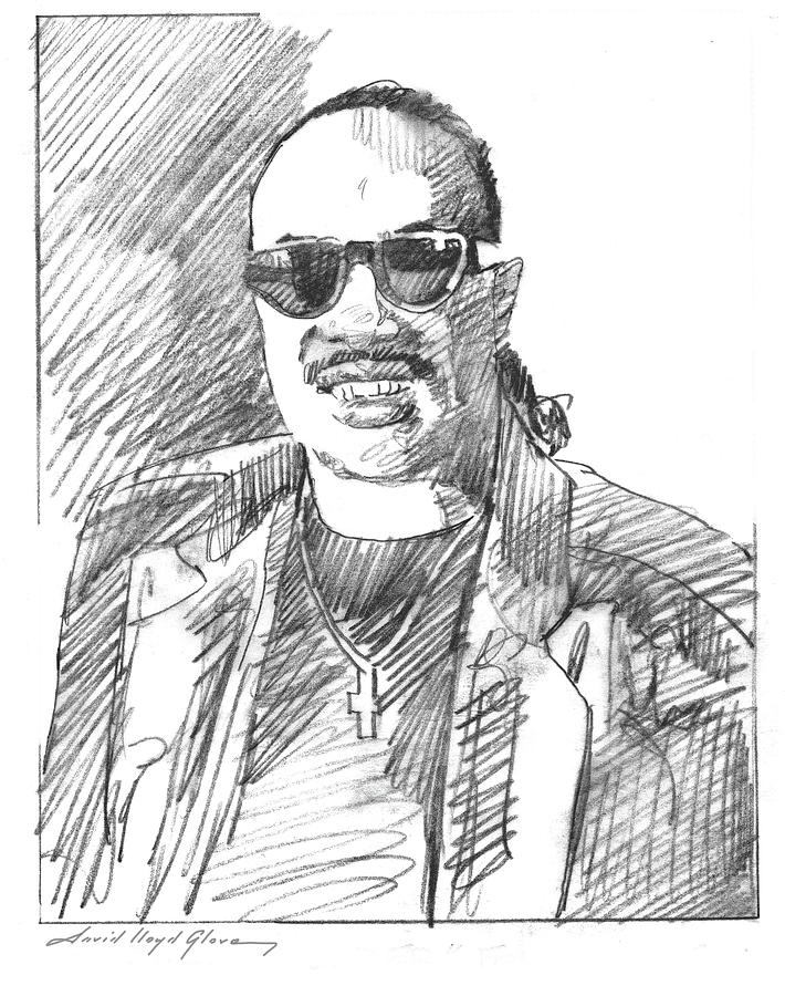 STEVIE WONDER DRAWING by David Lloyd Glover
