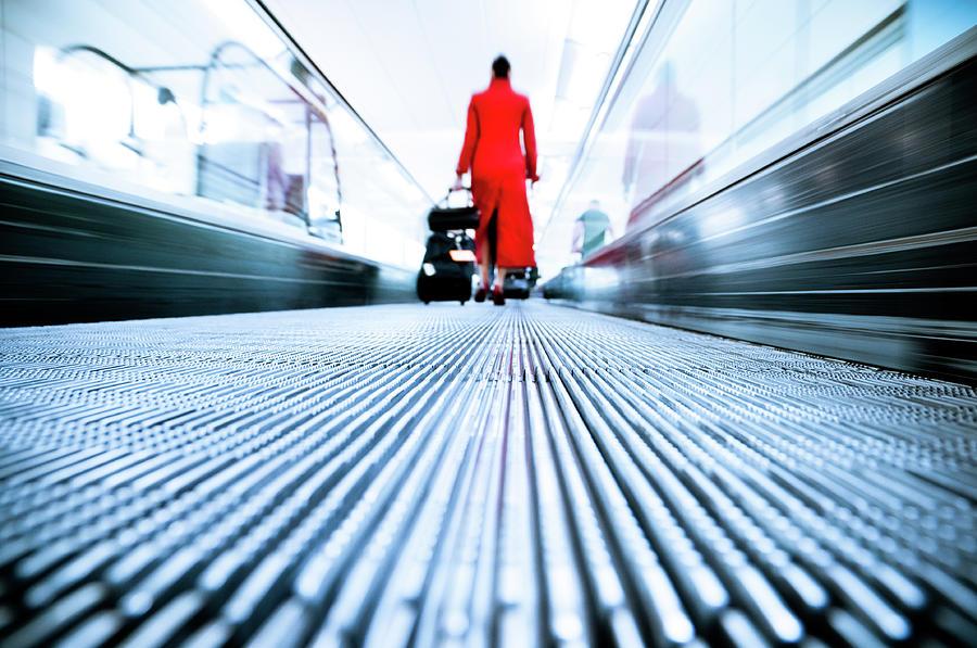 Stewardess Airport Travel Photograph by Ferrantraite