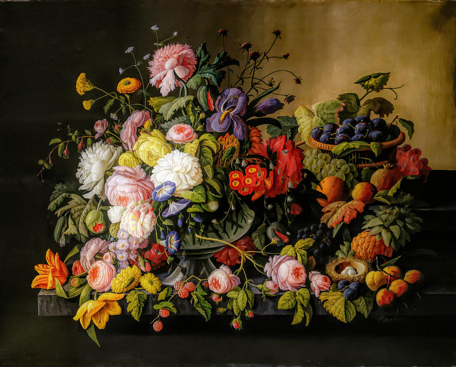 Still Life Flowers and Fruit                                                         by Severin Roesen