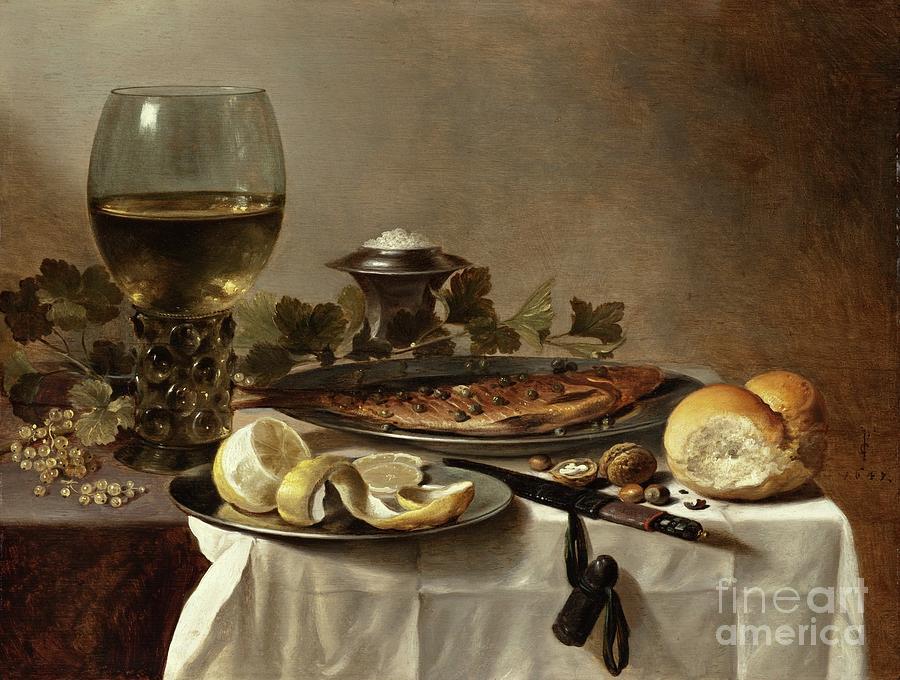 Still Life Herring Bread Wine Painting