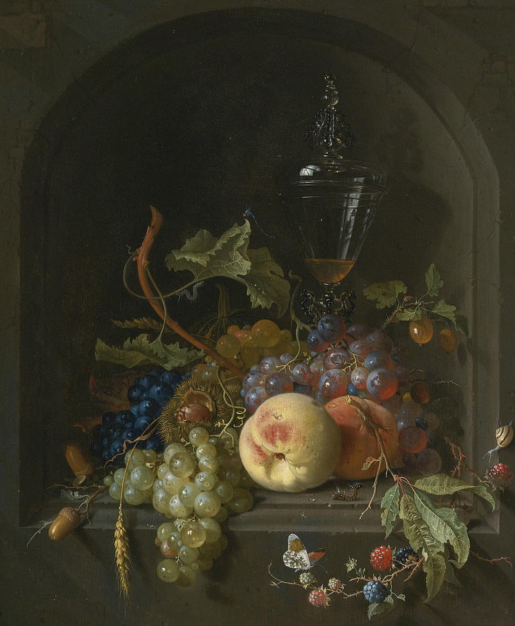 Still life of Grapes, Peaches, Blackberries, Acorns, Prickly Fruit by Jan Davidsz de Heem