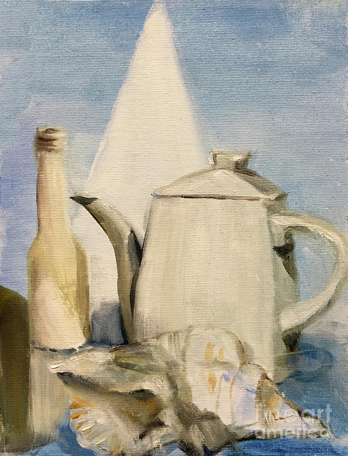 Still Life of Pottery in White by Greta Corens