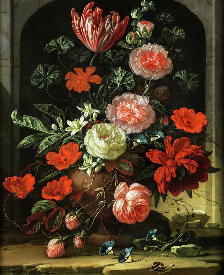 Tulips Painting - Still Life Of Roses, Tulips And Anemones by Elias van den Broeck
