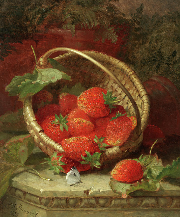 Still Life Strawberries Painting - Still Life Of Strawberries With A Cabbage White Butterfly by Eloise Harriet Stannard