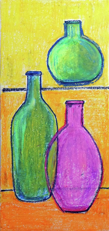 Still life three bottles by Asha Sudhaker Shenoy