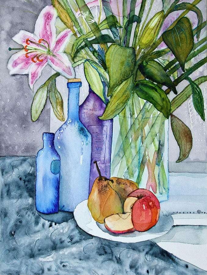 Still Life Watercolor With Orchid And Digital Art by Image By Catherine Macbride