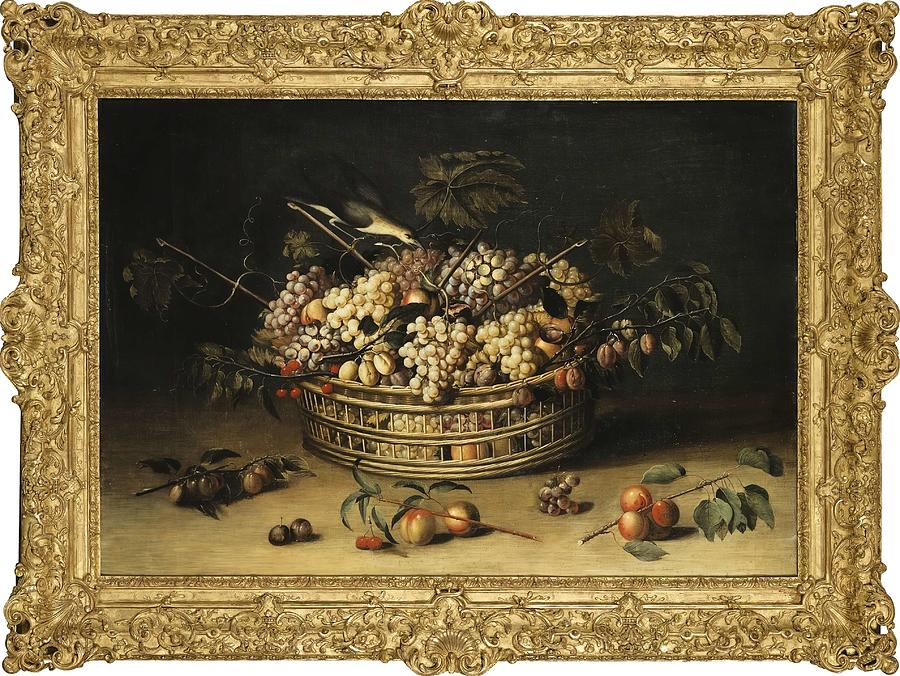 Still Life With A Basket Of Grapes  by Paul Dorival