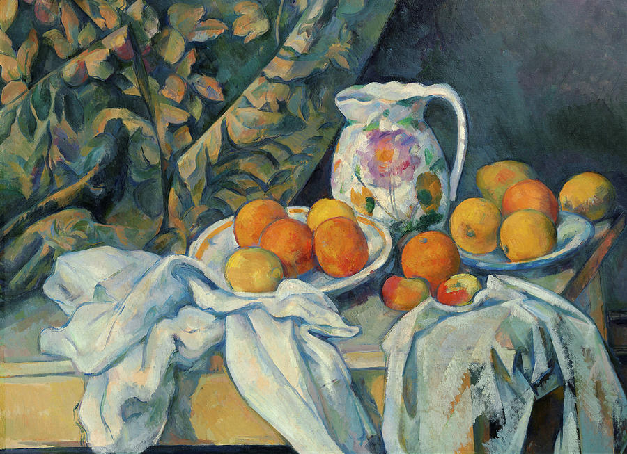 Cezanne Painting - Still Life With A Curtain, 1895 by Paul Cezanne
