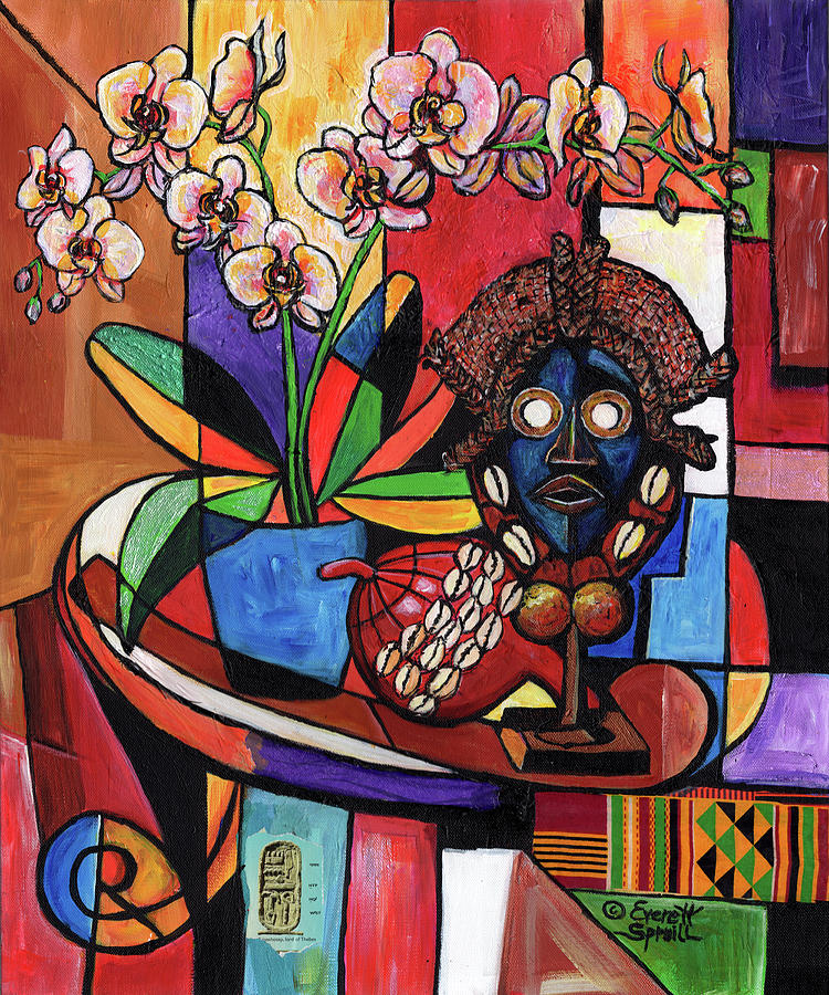 Still Life with Orchids and  African Artifacts by Everett Spruill