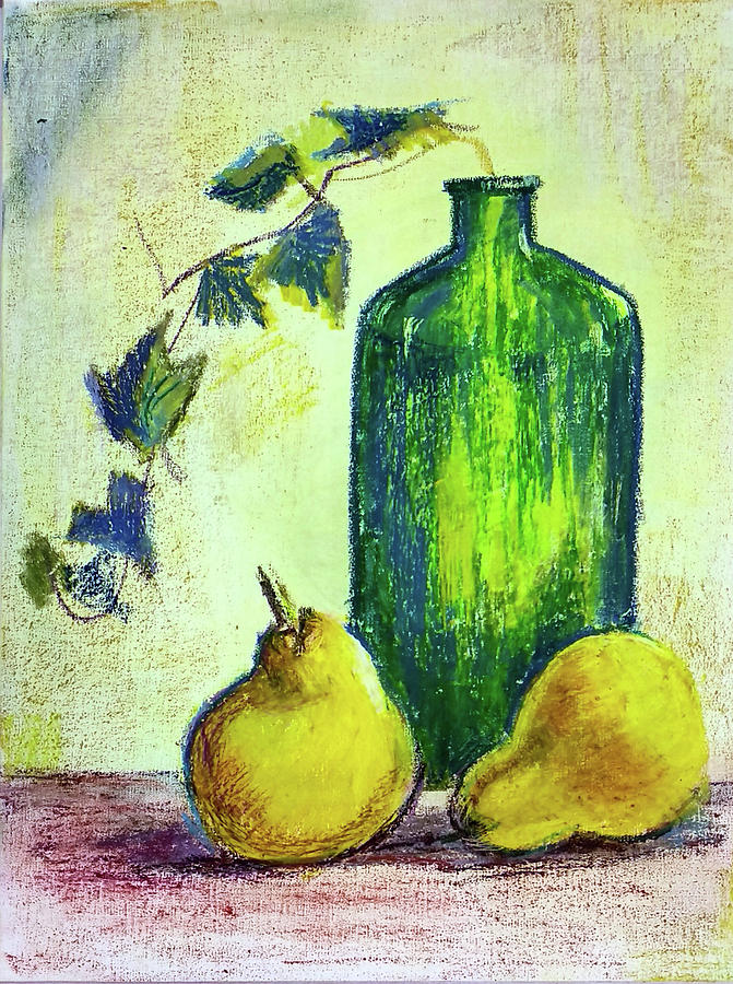 Still life with bottle and Pears by Asha Sudhaker Shenoy