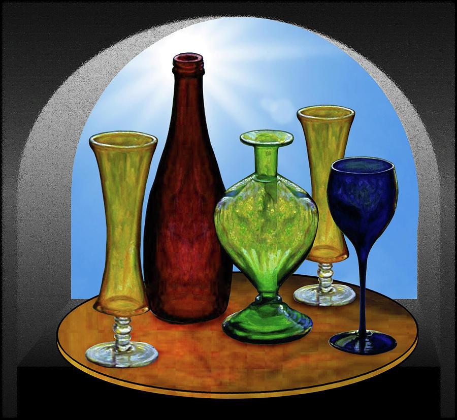 Still Life Painting - Still Life with Bottles by Hugo Heikenwaelder