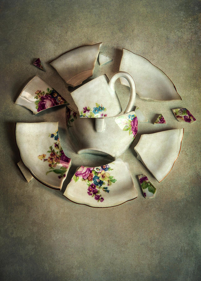 Still life with broken teaset by Jaroslaw Blaminsky