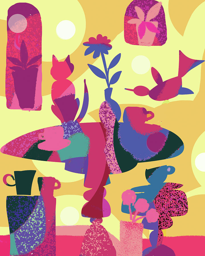 Still Life With Cat And Bird Digital Art By Holly Mcgee