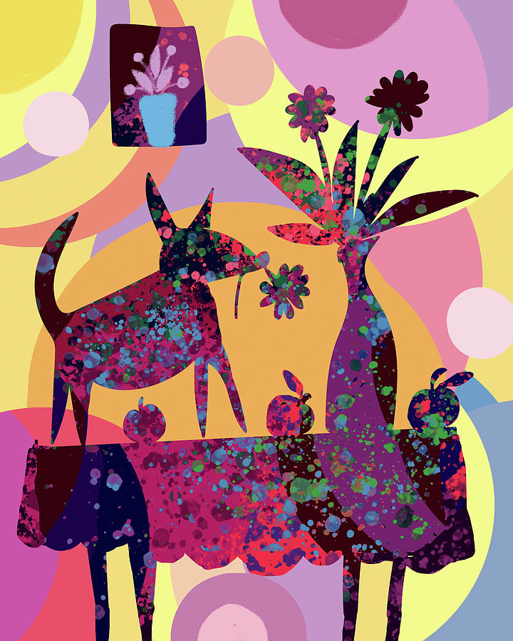 Still Life With Dog And Fruits Digital Art By Holly Mcgee