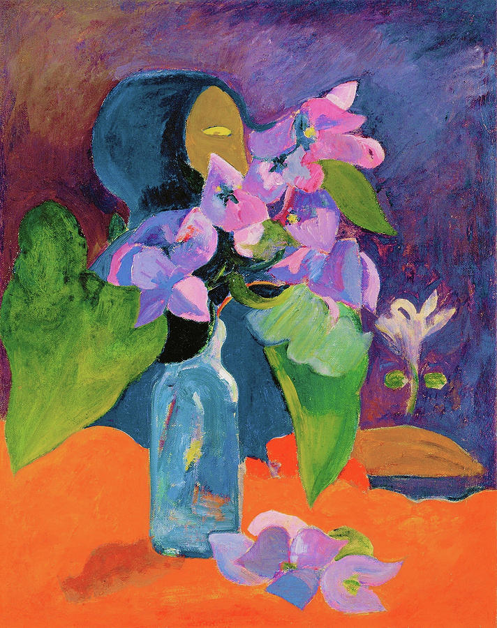 Tahiti Painting - Still Life With Flowers And Idol - Digital Remastered Edition by Paul Gauguin