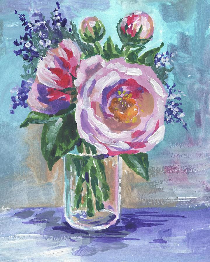 Still Life With Flowers Bouquet Floral Impressionism  by Irina Sztukowski