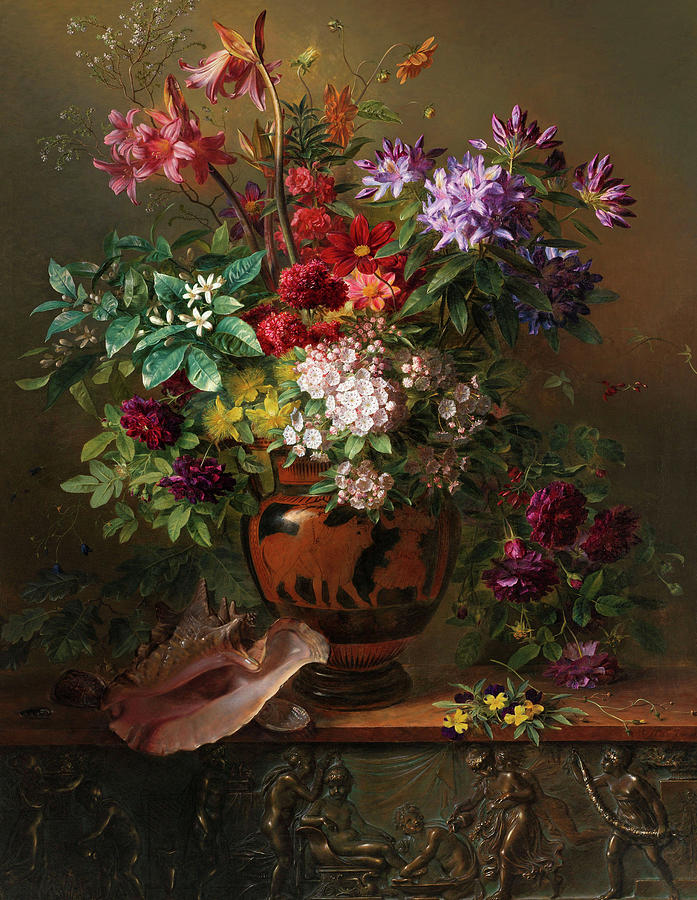 Van Os Painting - Still Life With Flowers In A Greek Vase Allegory Of Spring, 1817 by Georgius Jacobus Johannes van Os