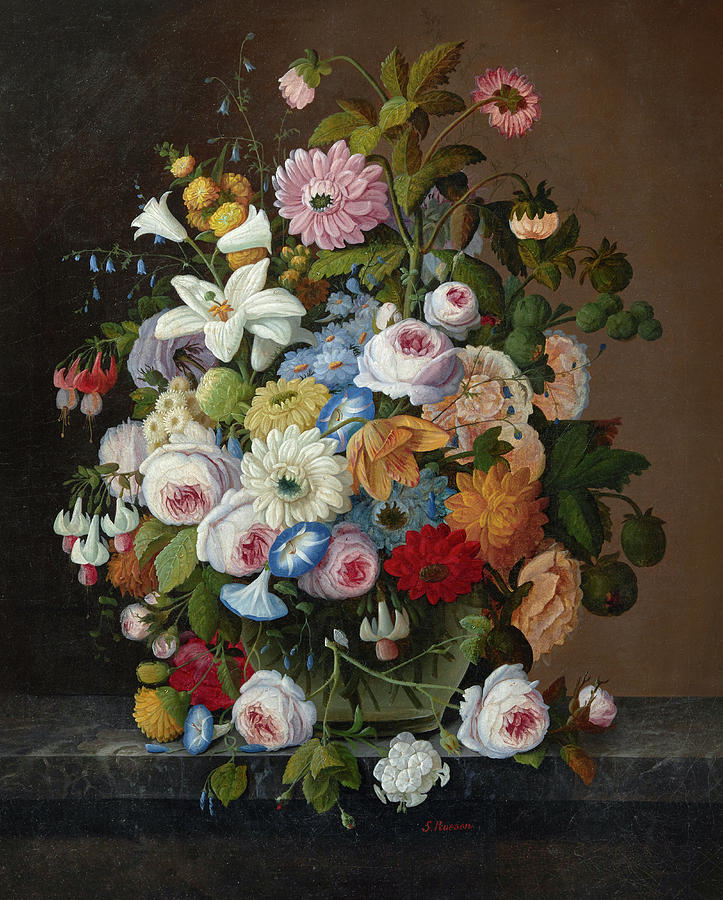 Severin Roesen Painting - Still Life With Flowers by Severin Roesen