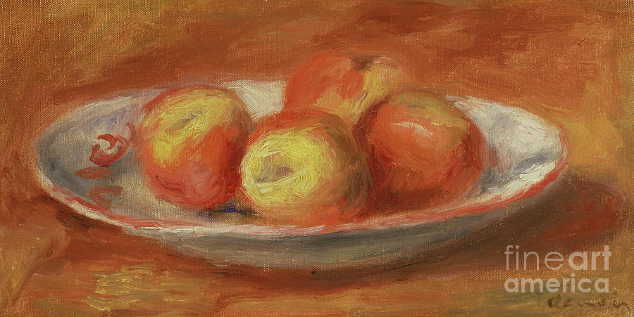 Fruit Painting - Still Life With Four Apples On A Plate, 1914 by Pierre Auguste Renoir