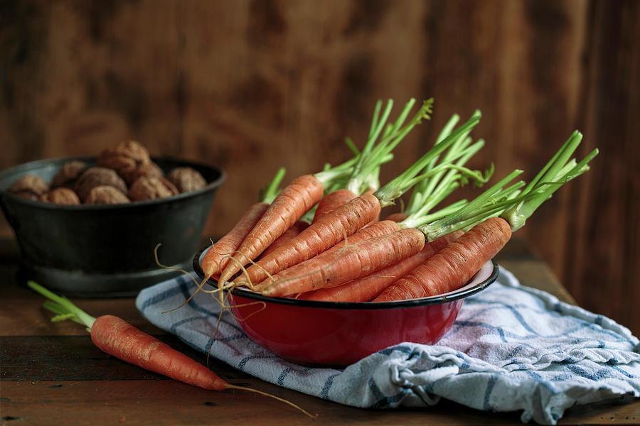 Still Life With Fresh Carrots Amd Walnuts Photograph