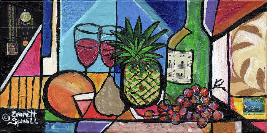 Still LIfe with Fruit and Wine #304 by Everett Spruill