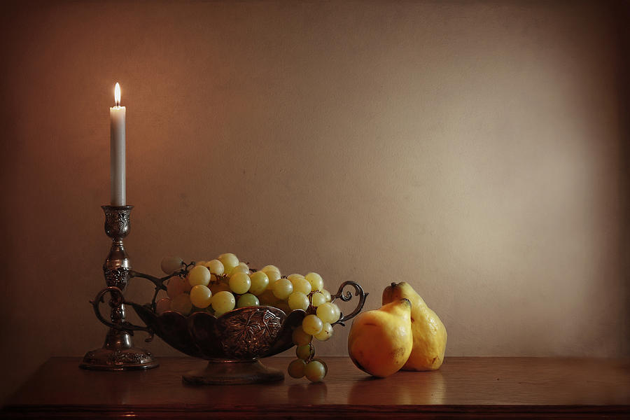 Still Life With Grapes And Quinces Photograph by By Vesi 127